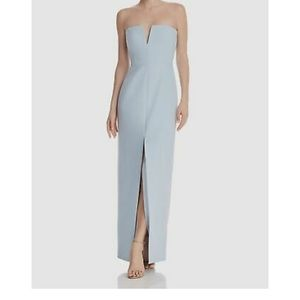 BCBG blue strapless Crepe gown